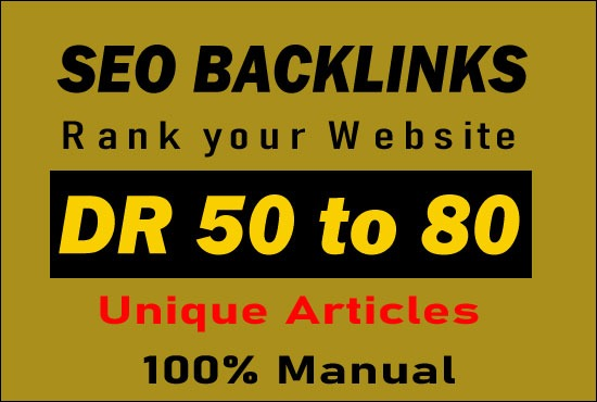Manually create 10 high DR 50 to 80 permanent homepage dofollow backlinks