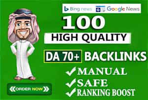 I will build unique domain SEO backlinks 100 on da100 tf100 sites