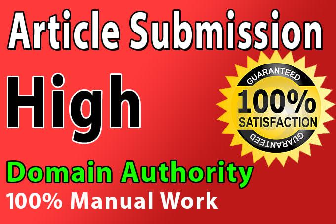 Provide 50 Unique Article Submission Backlinks ON DA 50 TO 90 Plus