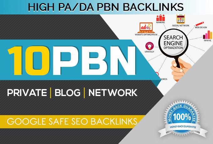 I will create 10 homepage pbn dofollow with high da pa permanent baklinks