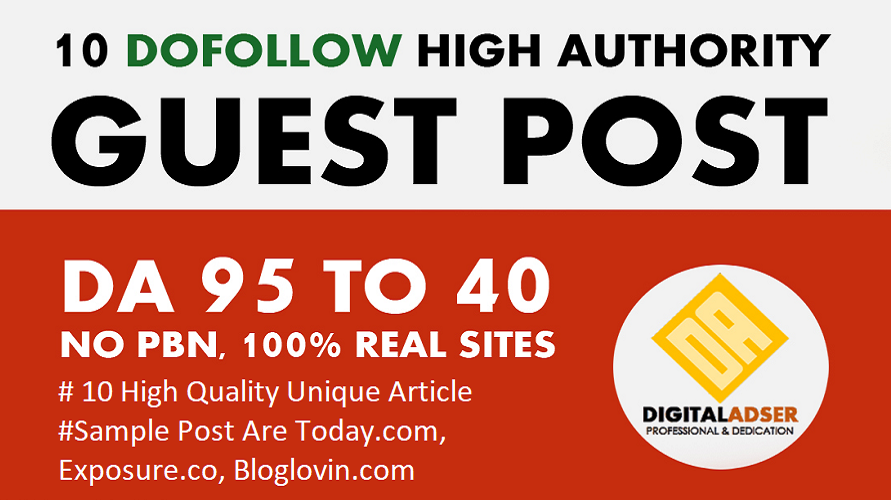 I will write and publish 10 quality SEO authority high da guest post backlinks