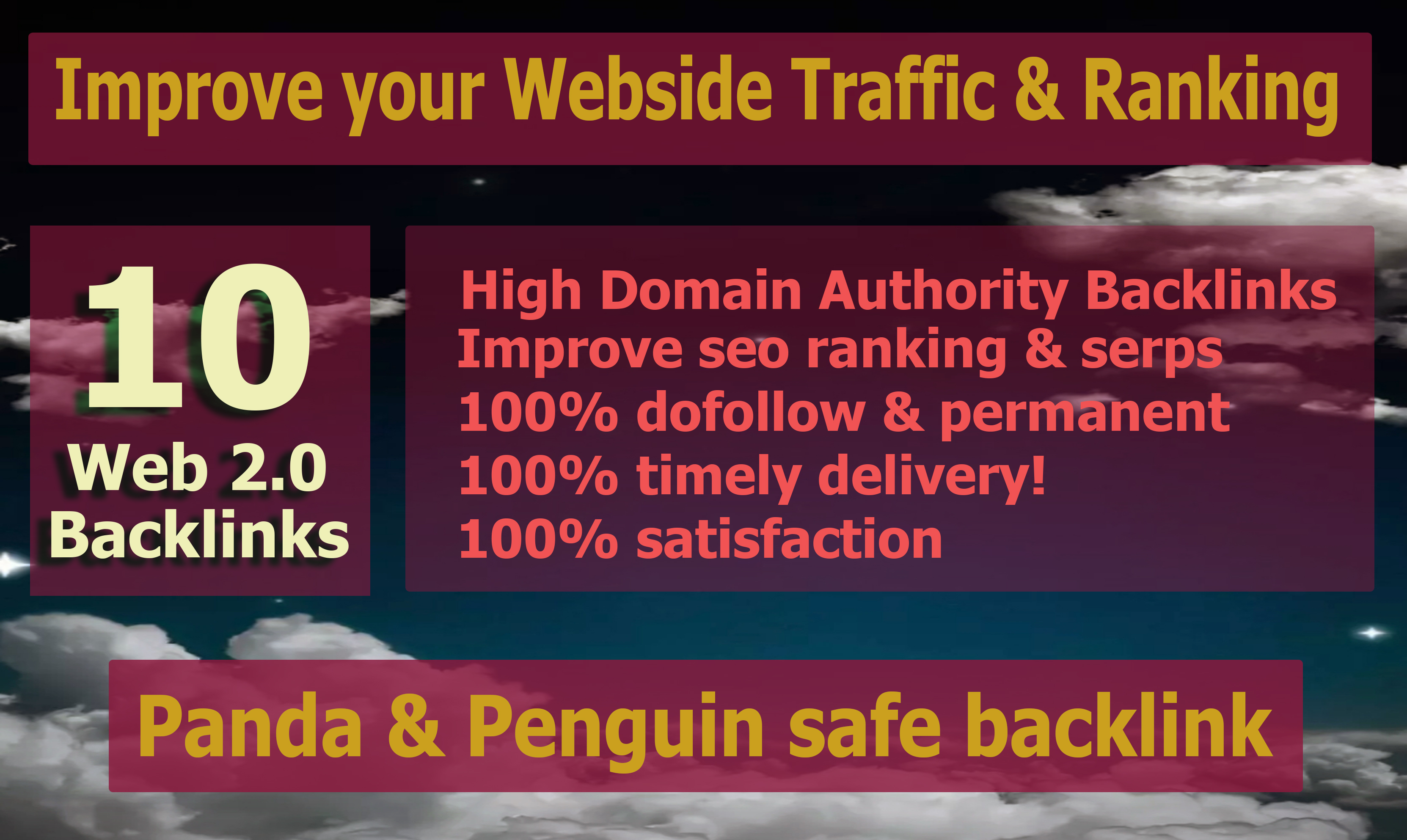I will do 10 high quality web 2.0 pbn backlinks for your website ranking
