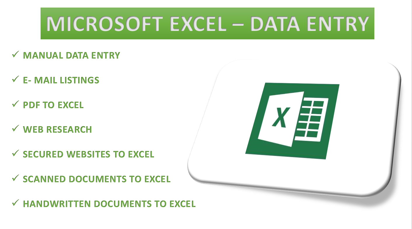 I will be your professional virtual assistant for Excel, web research and Data entry