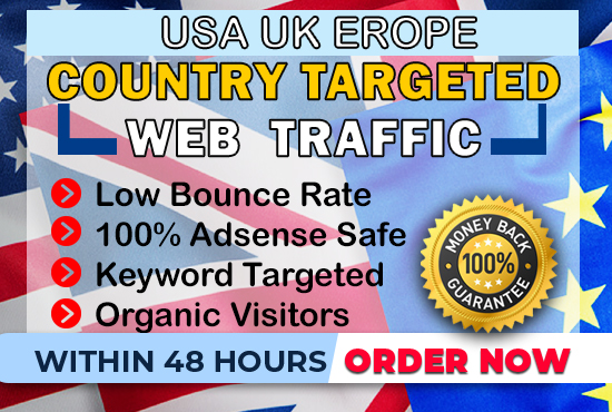 send 1000 daily usa, uk, Europe keyword target, web traffic for 2 months