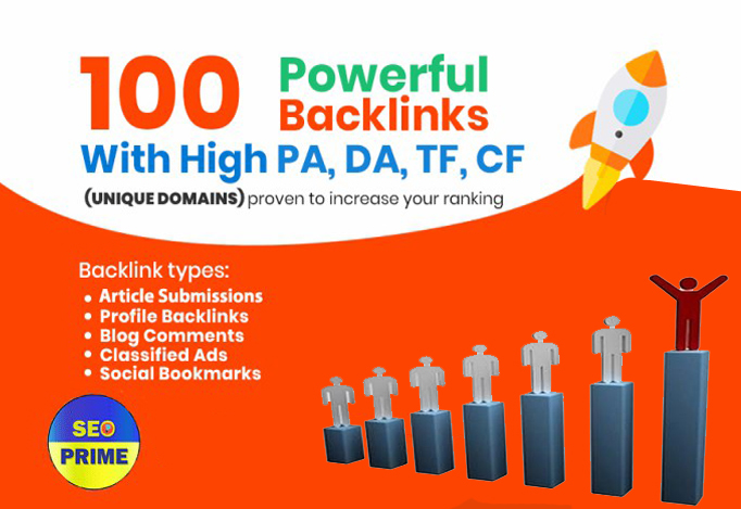 Build Up powerful backlinks on da 100 unique domains