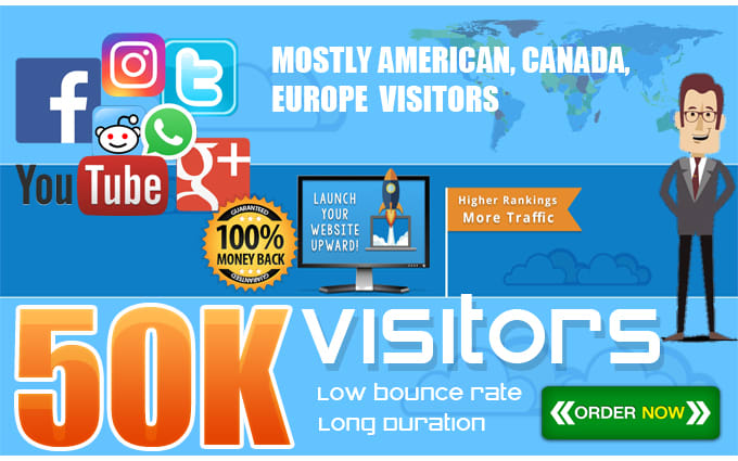 I will drive 50k real visitors,  targeted web traffic
