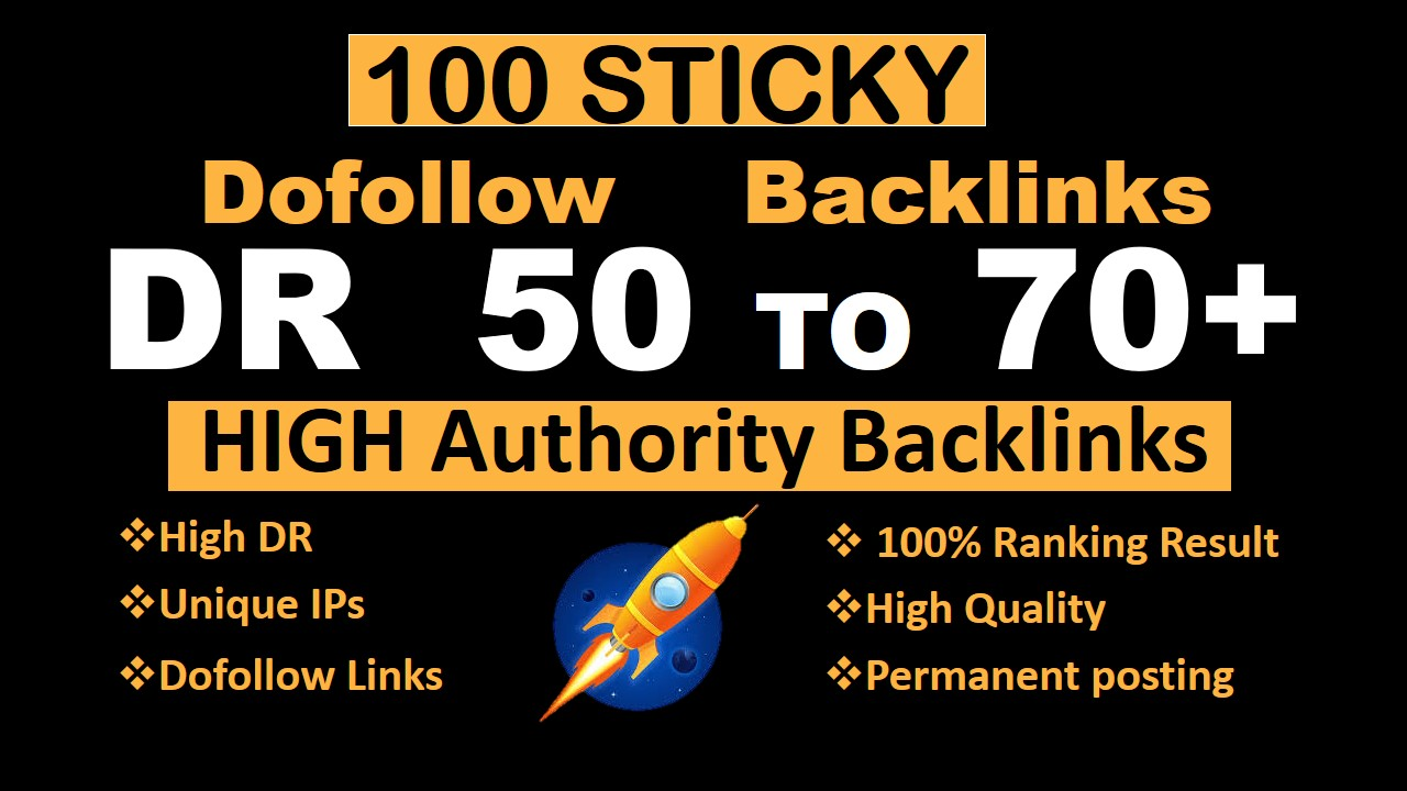 I will make 100 DR 50 to 70 high quality dofollow seo backlinks