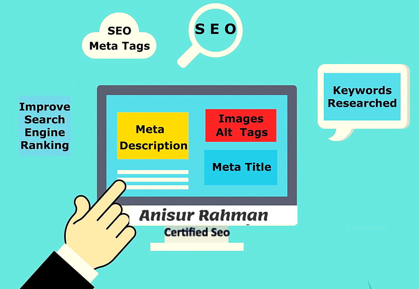 I will write SEO meta tags,  title,  description and images alt tags