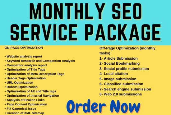 I will provide the best monthly SEO service package