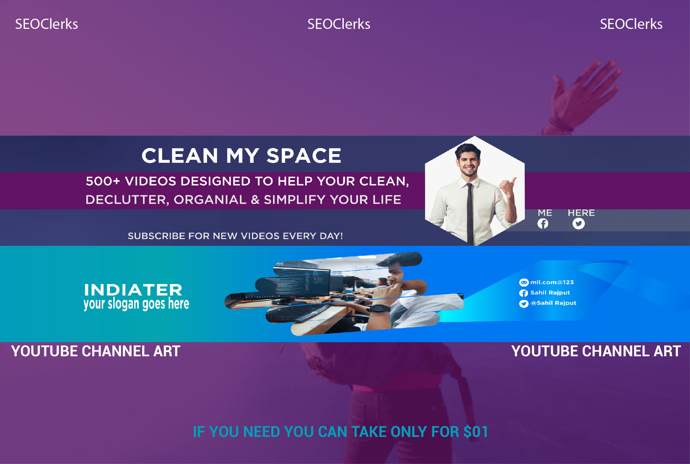I will design Youtube banner and any kinds of social media banner for your business.