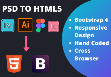 I will convert PSD to html,  sketch to html,  PSD to html responsive bootstrap 4