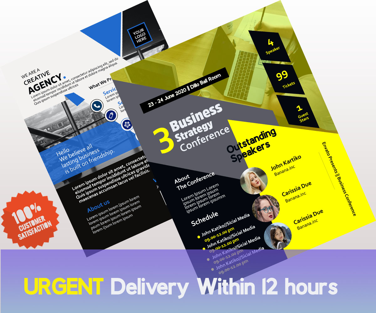 I will design your urgent flyer,  business card,  banner or cover