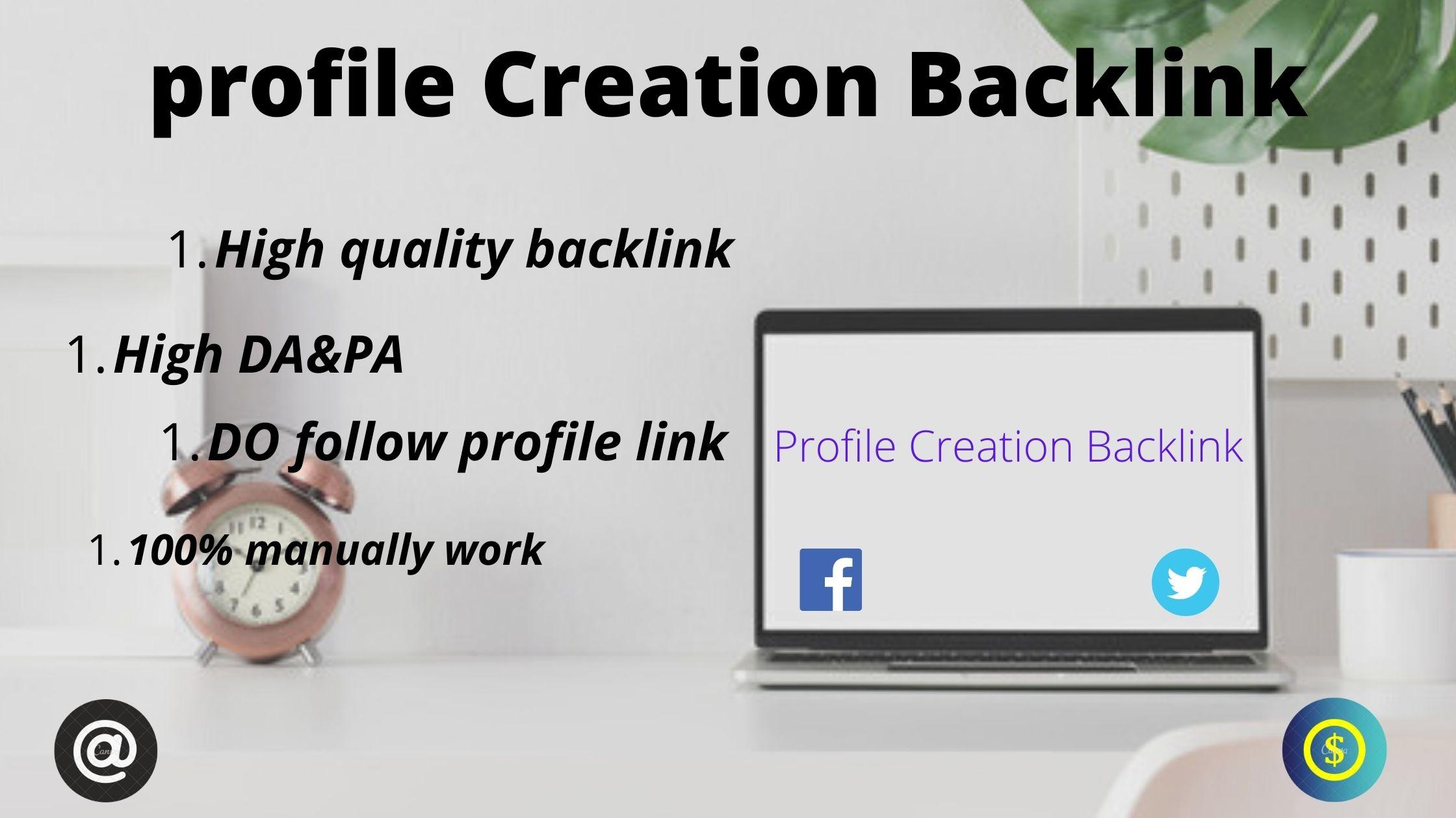 I will do 30 profile creation backlinks