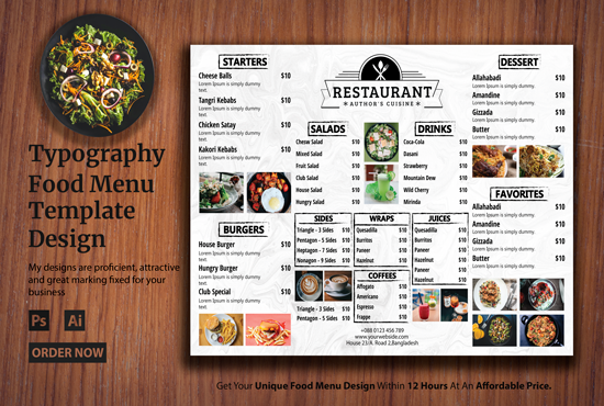 I will design delicious restaurant menu for you within 12 hours