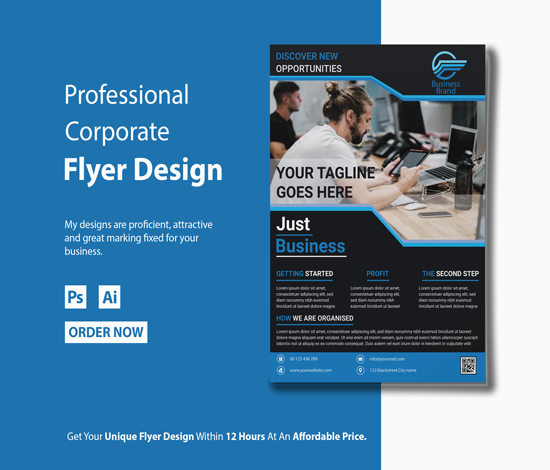 I will design modern business flyer poster for you within 12 hours