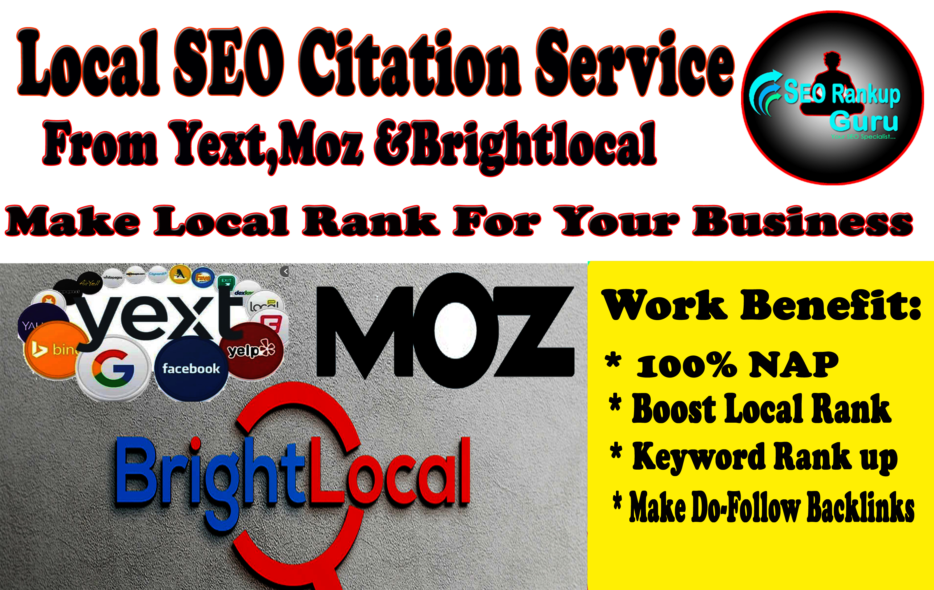 I Will Do Top 75 Local SEO Citation From Yext, Moz And Brightlocal List For Local Rank