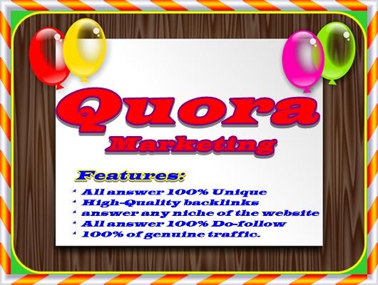 25 high-quality Quora Answer with keywords, Traffics & URL