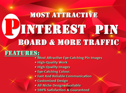 I provide most attractive 3 Pinterest pin and board for targeted traffic.