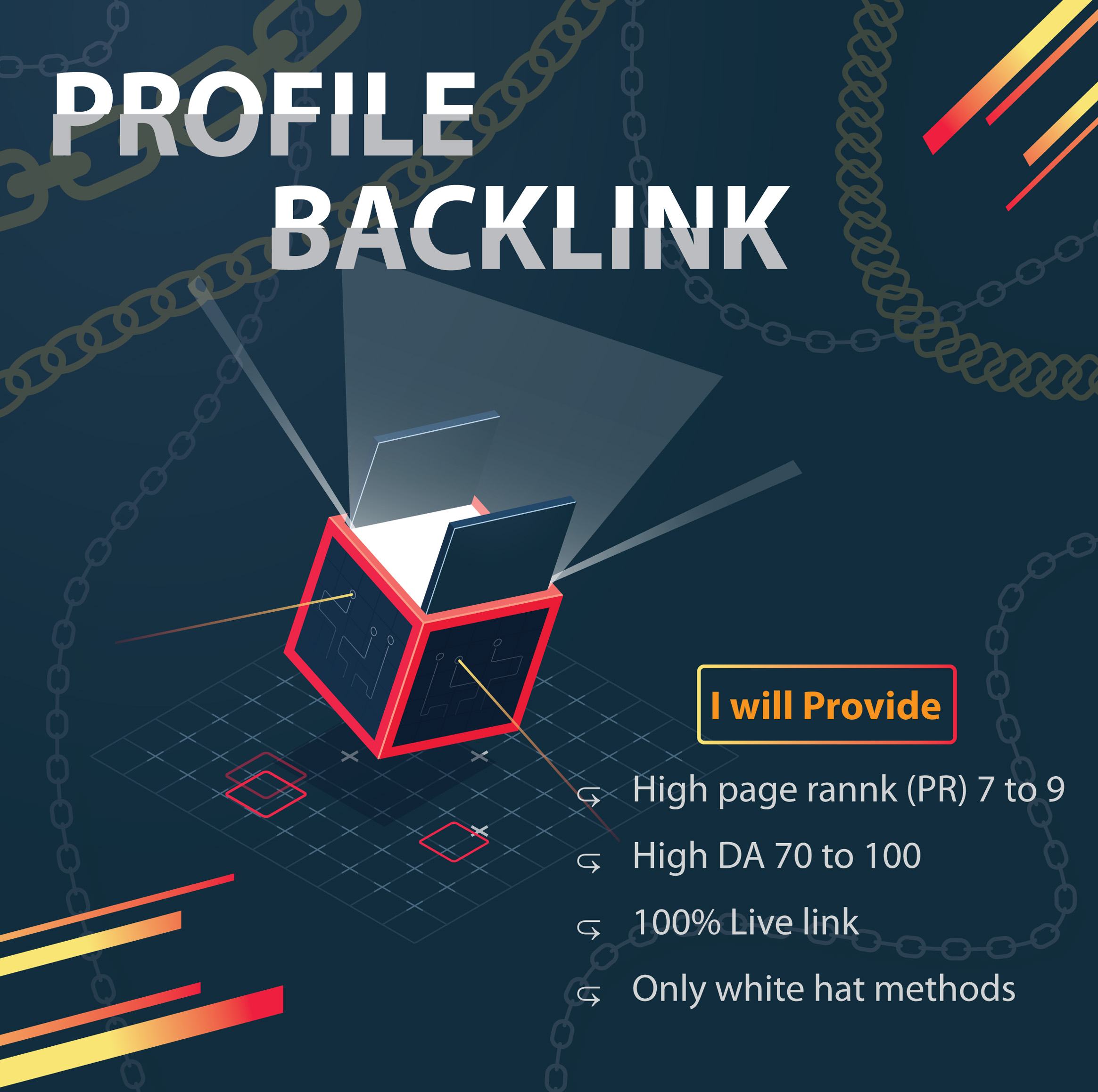I will build you 100 profile backlink from the PR9 High authority website.