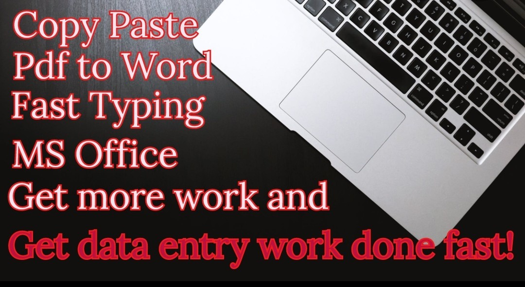 I will do Data entry, Typing, Copy Paste and Ms Office/ Ms Excel