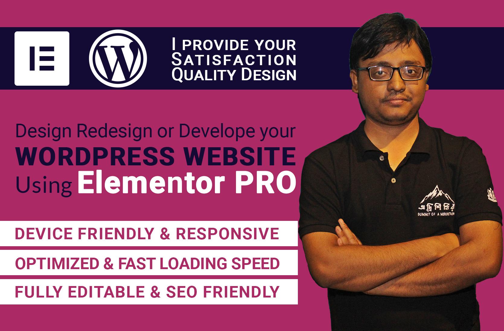 I will design redesign or develop your wordpress website using elementor pro