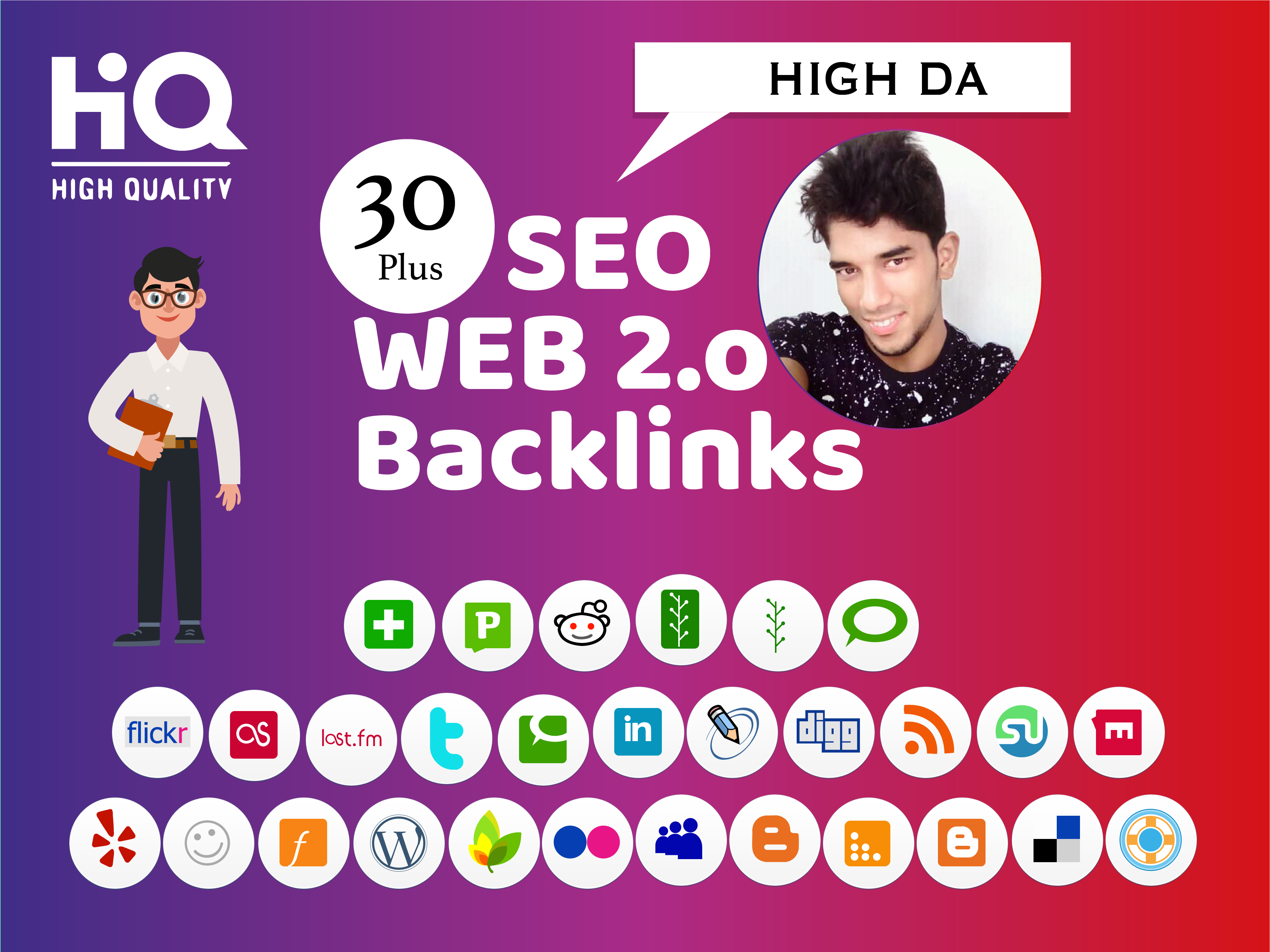 I will provide 30 High DA Web 2 Backlinks For increase your website Rank