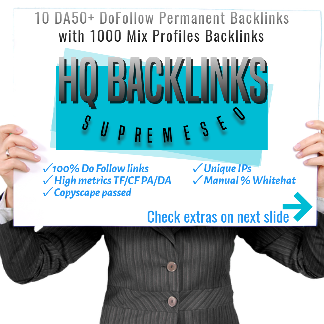 Get the attention of Google with 10 permanent DA50+ and 1000 mix profile backlinks