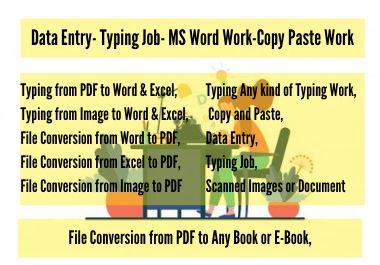 I will do any data entry typing work,  typing job,  copy paste,  typing expert,  within 24h