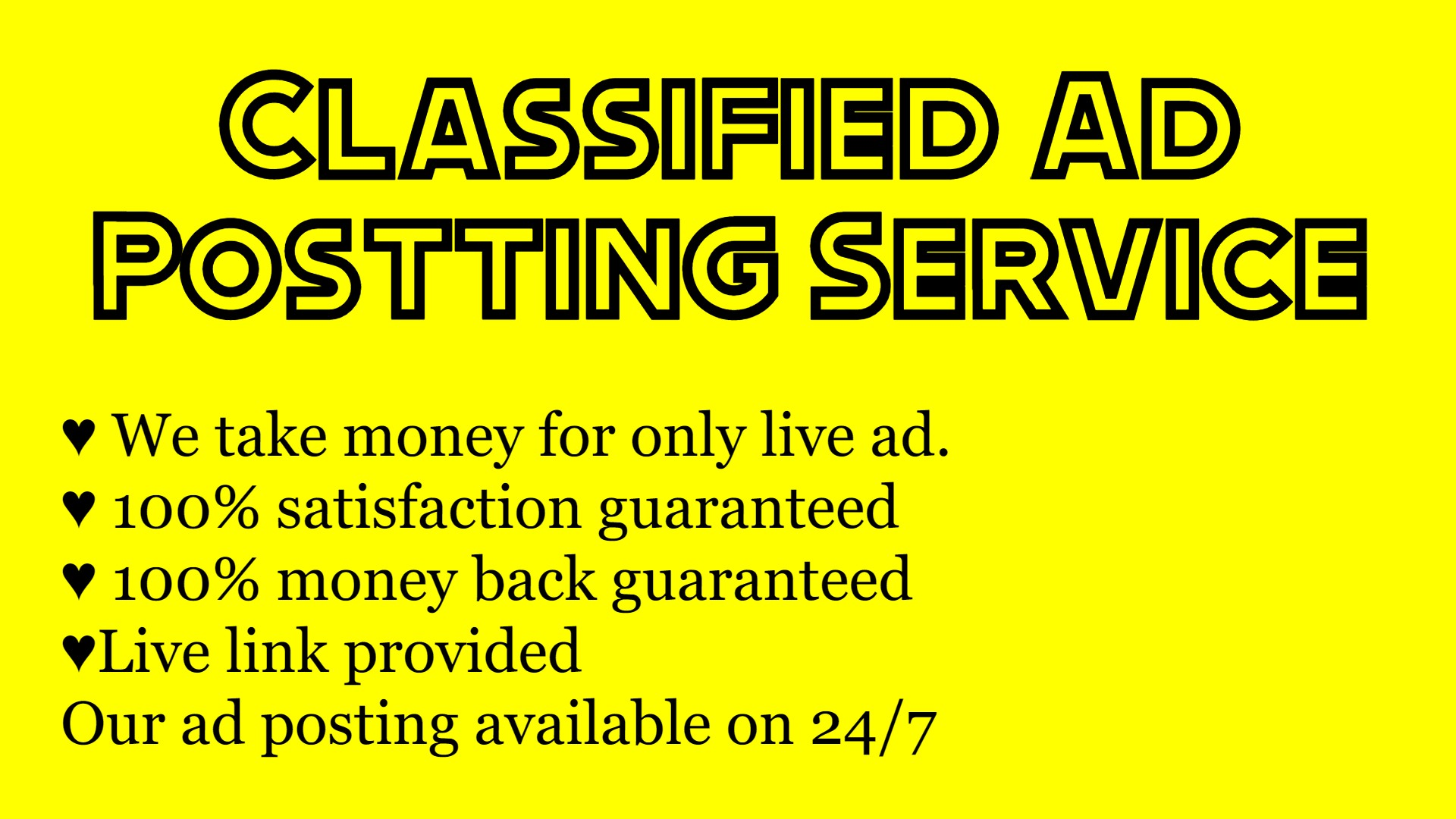 I will provide you 10 live guaranteed classified ad posting