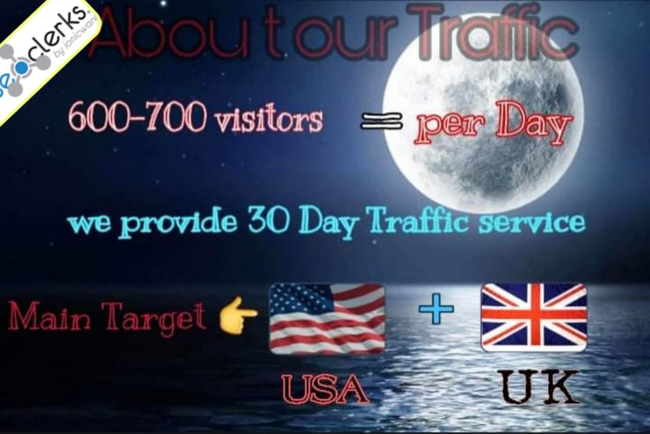 High quality Traffic 600-700 per day for one month.
