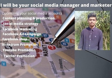 I will be your social media manager & marketer