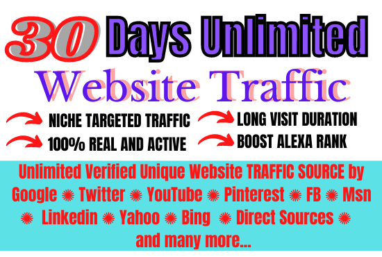 I will boost unlimited genuine web traffic for 30 days
