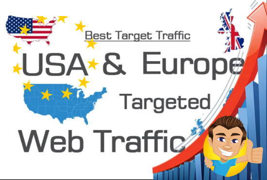 I will bring USA,UK,EUROPE targeted web traffic by Google Twitter YouTube and many more for 30 days