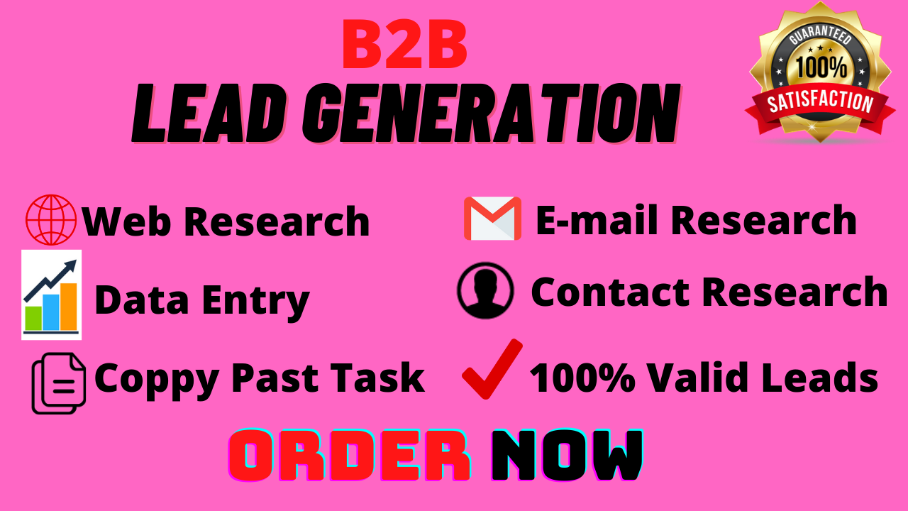 Lead Generation,  Web Research,  Data Entry for any targeted business