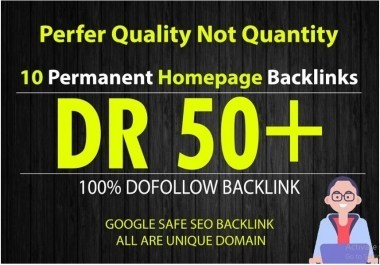 I will build 10 manual high dr50 plus homepage pbn dofollow backlink