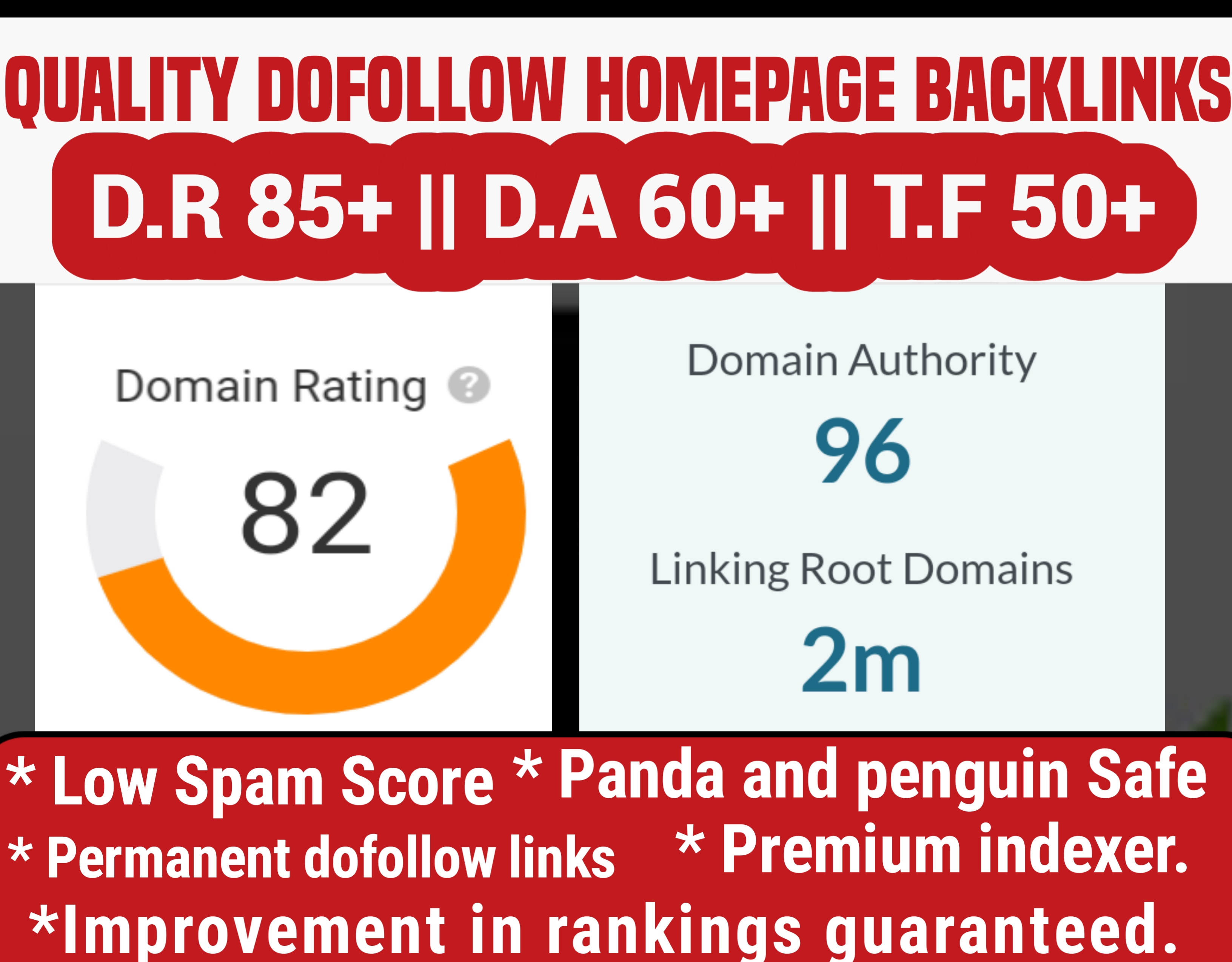 I will build 3 quality dofollow homepage backlinks from high D.A sites
