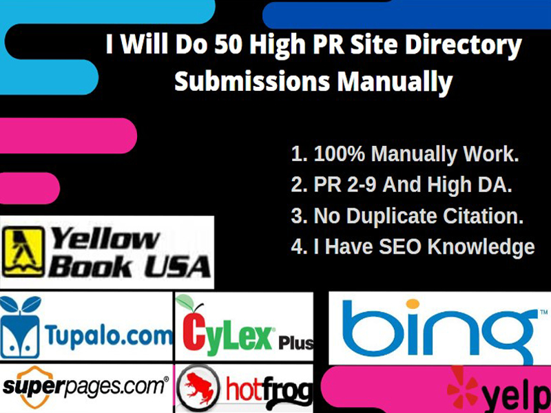 I Will Do 50 High PR Site Directory Submissions Manually