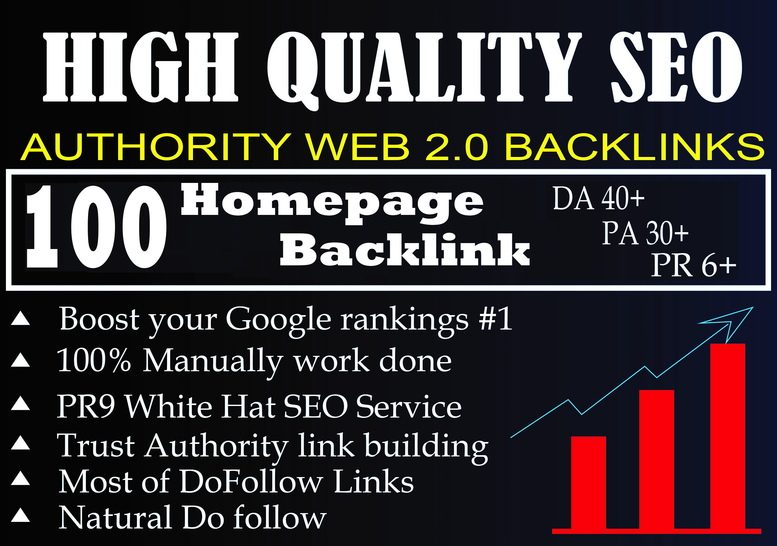 I Will Provide DA 40+ PA 30+ PR 6+ Web2.0 100+ homepage Backlink in 100 do-follow in unique site