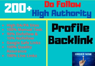 I Will Do Manually 200+ Dofollow Profile Backlinks on High DA & PA sites