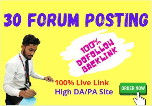 Manually Do 30 Forum Posting SEO Backlinks for google ranking.