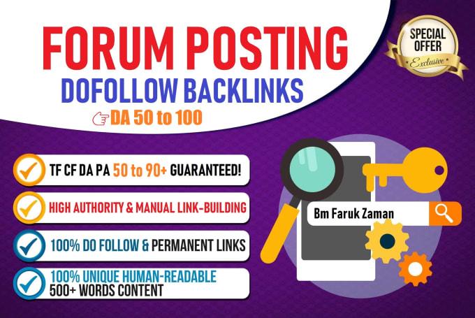 I will create high quality DA 50 plus forum posting Backlink