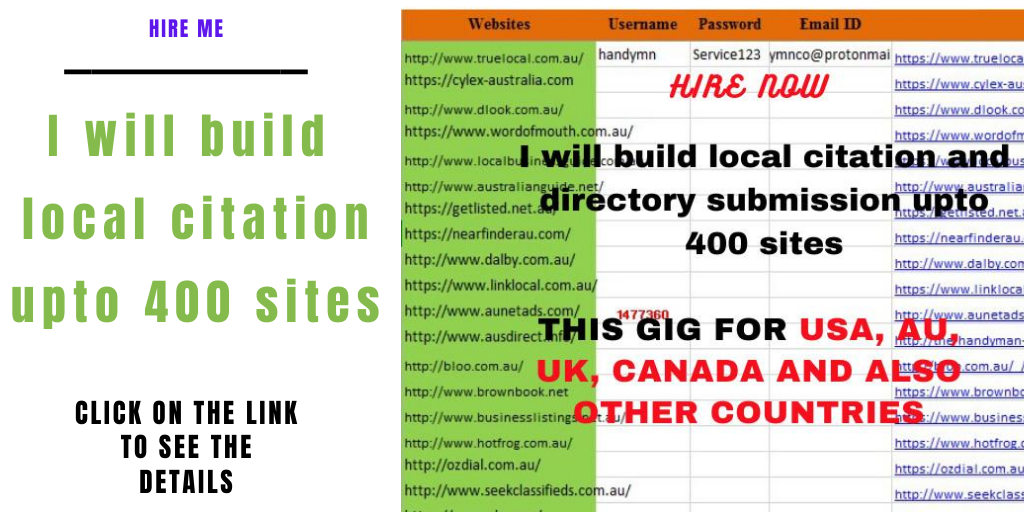 I will build top 50 local seo citations for USA,  UK,  Australia,  Canada