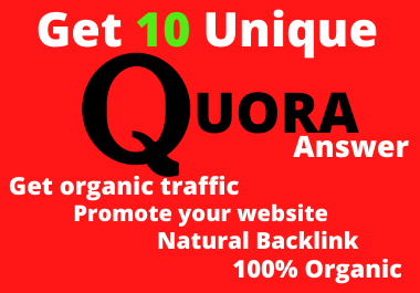 Improve Your website by 10 high-quality Quora Answers With Organic Traffic