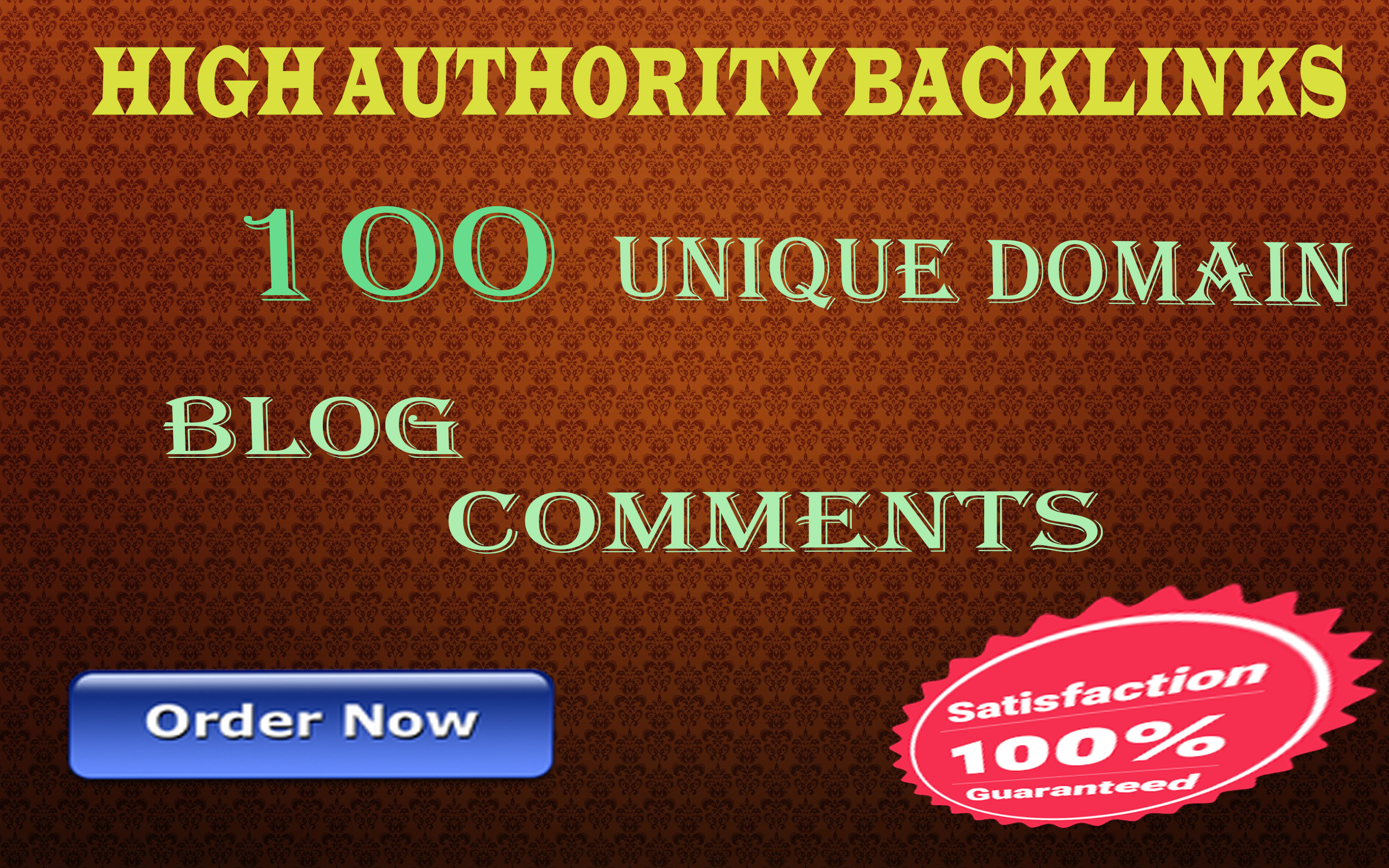 I will create 100 unique domain blog comments on high authority sites