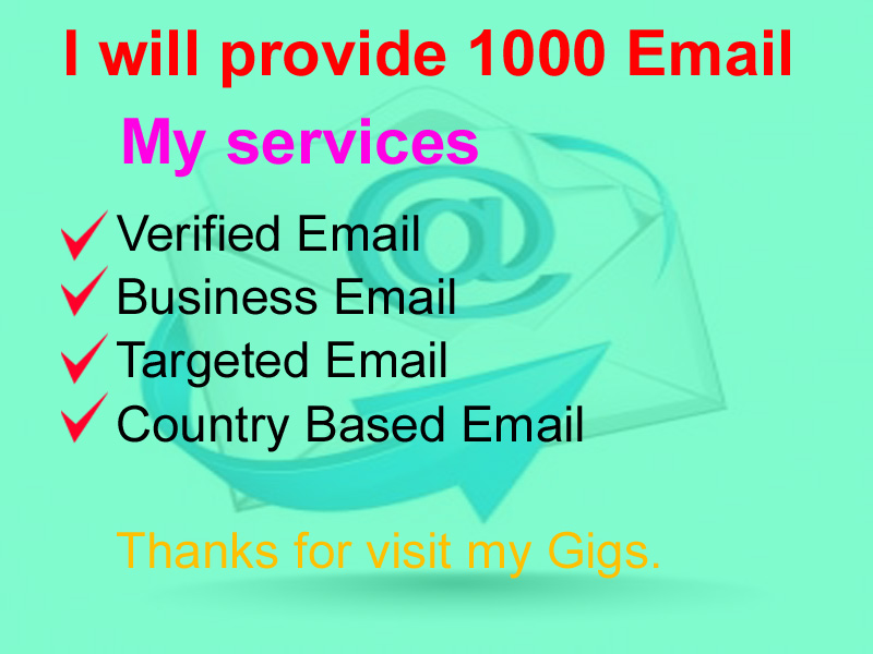 I will provide your verified 1000 email list