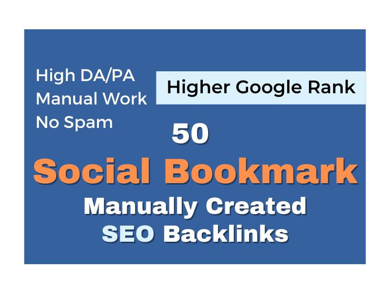 Create high authority social bookmarks seo backlinks for google ranking