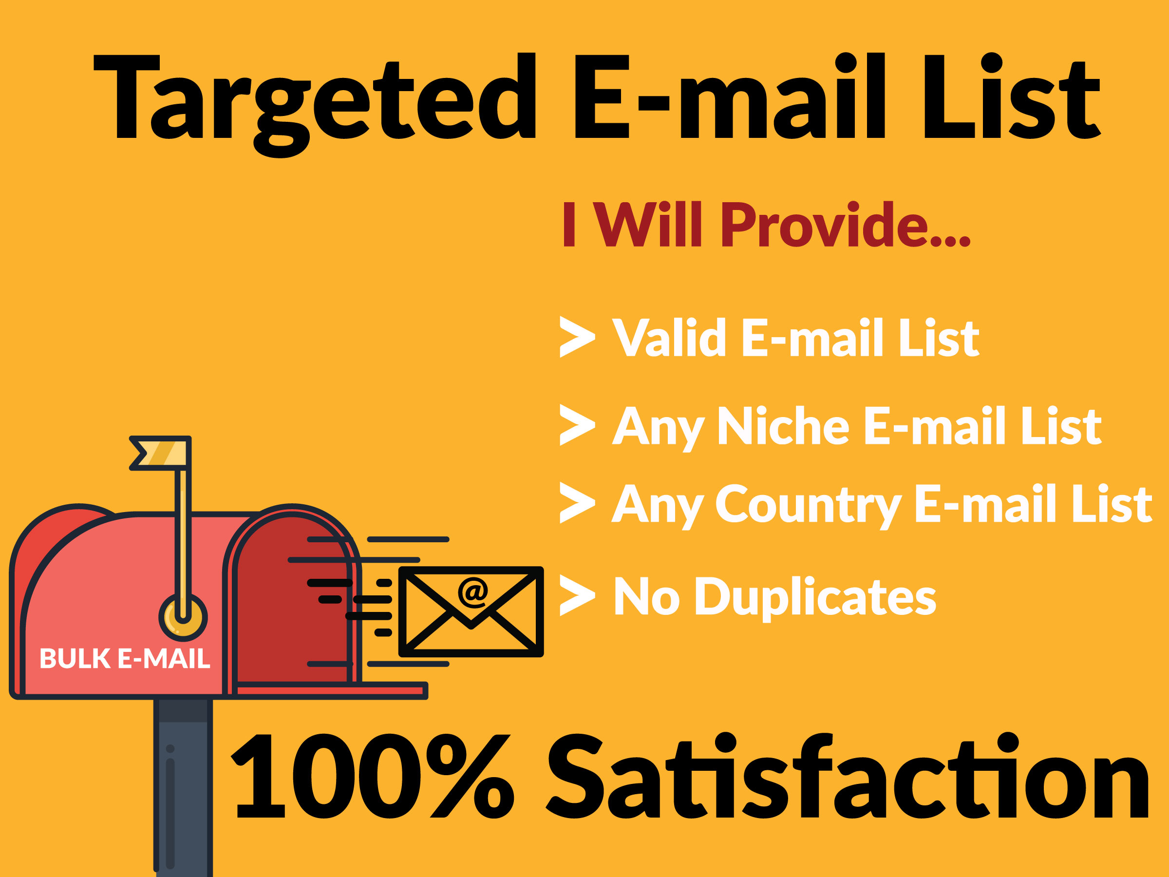 I will provide bulk email list, targeted niche and country for email marketing