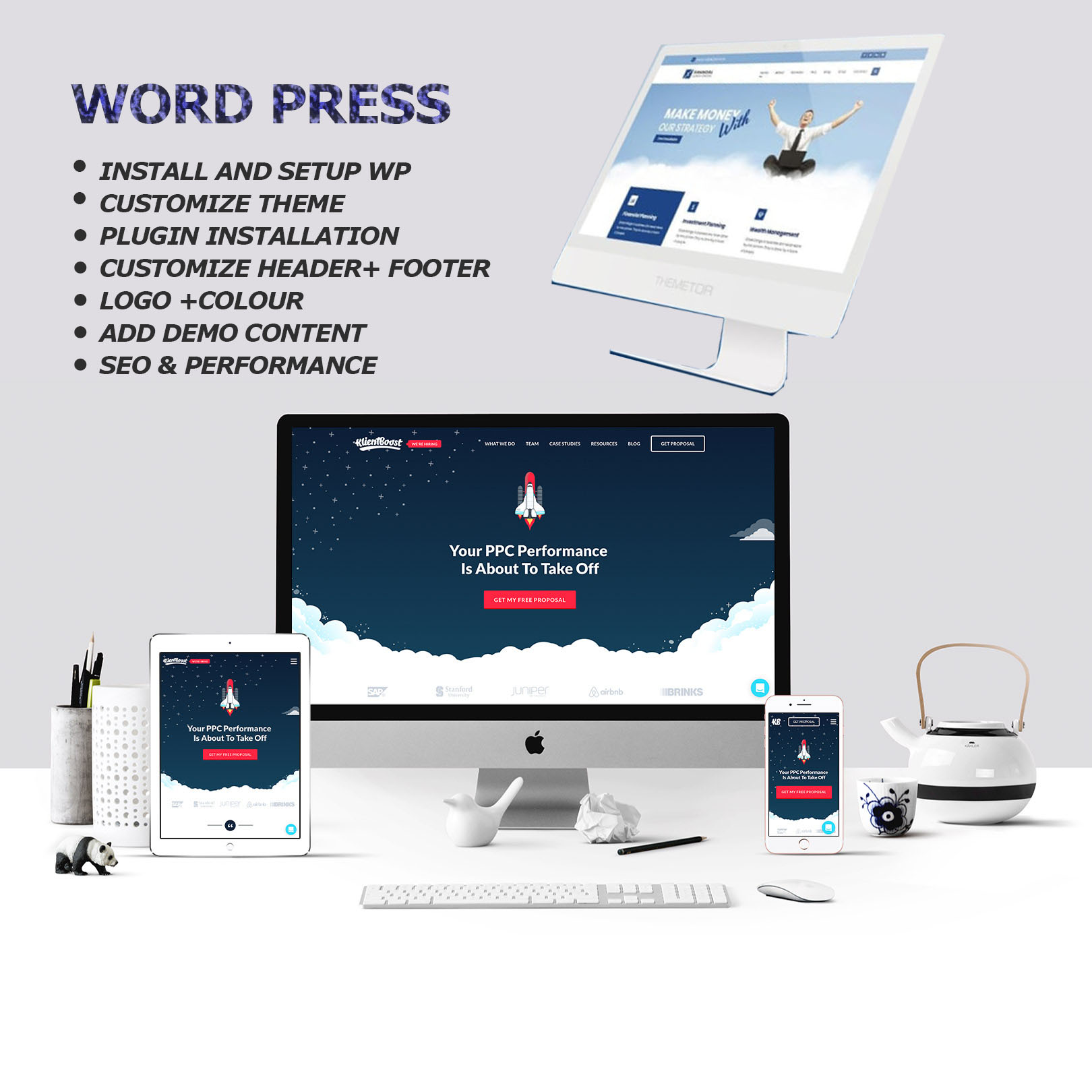 I will create responsive wordpress landing page design