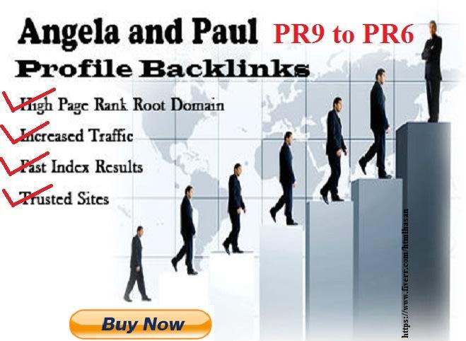 I will manually create 80 PR9 to PR6 Angela Paul Profile Backlinks