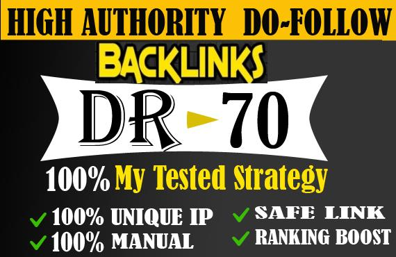 I will manually create 120 provide DR 50 to 70 backlinks off page seo